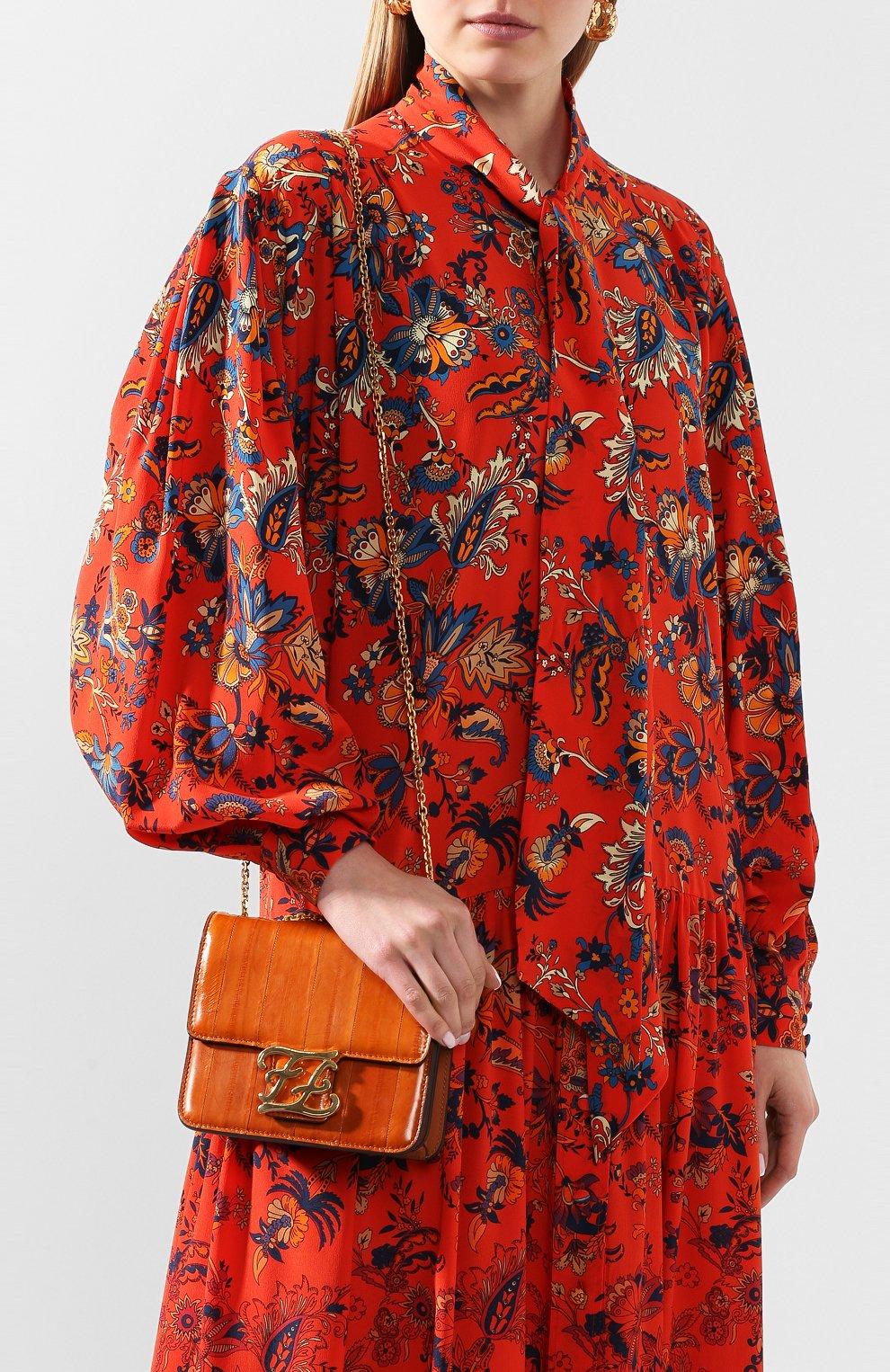 Женская сумка kalligraphy FENDI оранжевого цвета, арт. 8BT317 A9P1 | Фото 5
