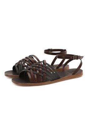 Женские кожаные сандалии BRUNELLO CUCINELLI темно-коричневого цвета, арт. MZSLC1779   Фото 1