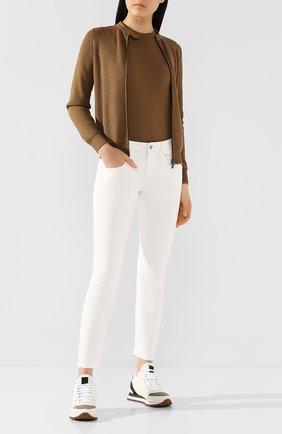 Женские кожаные кроссовки BRUNELLO CUCINELLI белого цвета, арт. MZSFG1832   Фото 2 (Материал внутренний: Текстиль, Натуральная кожа; Подошва: Платформа; Материал внешний: Кожа)