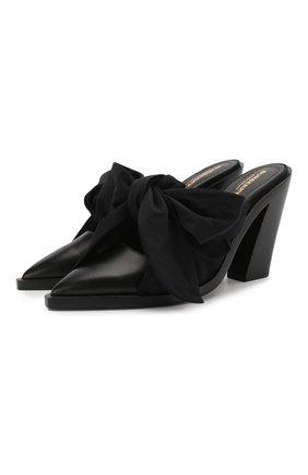 Женские кожаные мюли BURBERRY черного цвета, арт. 8028301   Фото 1