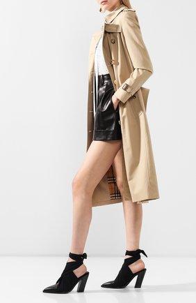 Женские кожаные мюли BURBERRY черного цвета, арт. 8028301   Фото 2
