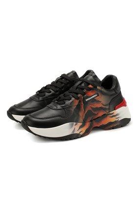 Женские кожаные кроссовки d24 tiger runner DSQUARED2 черного цвета, арт. SNW0075 01502845 | Фото 1
