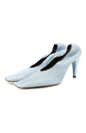 Женская кожаные туфли BOTTEGA VENETA голубого цвета, арт. 618782/VBTC0 | Фото 1