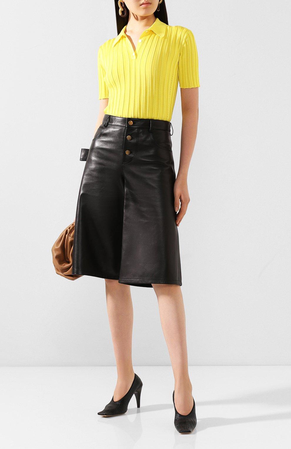 Женские кожаные туфли BOTTEGA VENETA черного цвета, арт. 618782/VBTC0   Фото 2