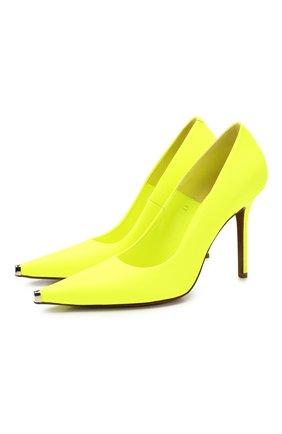 Женская кожаные туфли VETEMENTS желтого цвета, арт. SS20HE009 2414/W   Фото 1