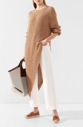 Женские кожаные эспадрильи TOD'S коричневого цвета, арт. XXW66B0CY50NV7 | Фото 2