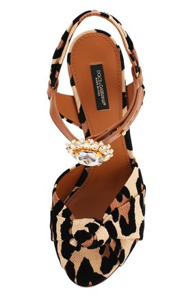 Женские комбинированные босоножки keira DOLCE & GABBANA леопардового цвета, арт. CR1027/AX831 | Фото 5