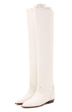 Женские кожаные ботфорты saliza ISABEL MARANT белого цвета, арт. SALIZA/CD0025-20E003S | Фото 1