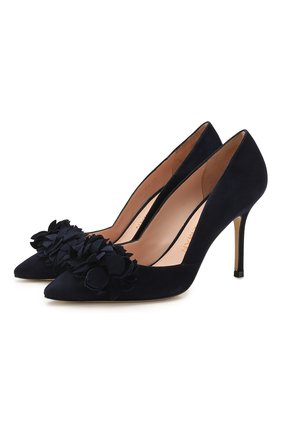 Женская замшевые туфли STUART WEITZMAN темно-синего цвета, арт. S6122 | Фото 1