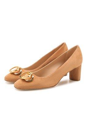 Женская замшевые туфли STUART WEITZMAN бежевого цвета, арт. S6445 | Фото 1