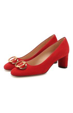 Женская замшевые туфли STUART WEITZMAN красного цвета, арт. S6445 | Фото 1