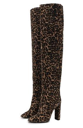 Женские замшевые ботфорты 76 SAINT LAURENT леопардового цвета, арт. 621120/1FL00 | Фото 1