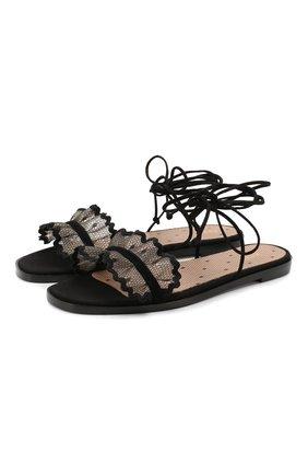 Женские текстильные сандалии REDVALENTINO черного цвета, арт. TQ0S0D67/KYL   Фото 1