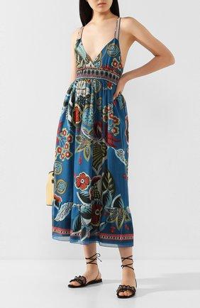 Женские текстильные сандалии REDVALENTINO черного цвета, арт. TQ0S0D67/KYL   Фото 2
