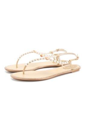 Женские комбинированные сандалии eliza RENE CAOVILLA золотого цвета, арт. C10241-010-VR01L013 | Фото 1