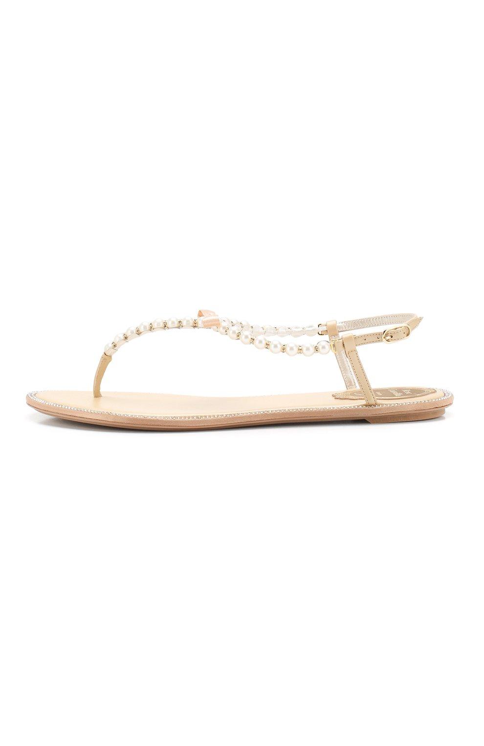 Женские комбинированные сандалии eliza RENE CAOVILLA золотого цвета, арт. C10241-010-VR01L013   Фото 3