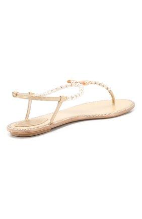 Женские комбинированные сандалии eliza RENE CAOVILLA золотого цвета, арт. C10241-010-VR01L013   Фото 4