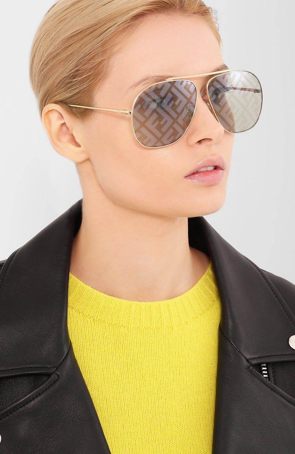 Женские солнцезащитные очки FENDI золотого цвета, арт. 0407/G PEF | Фото 2