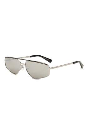 Женские солнцезащитные очки MOSCHINO серебряного цвета, арт. M0S053 010   Фото 1 (Тип очков: С/з; Очки форма: Прямоугольные, D-форма; Оптика Гендер: оптика-женское)