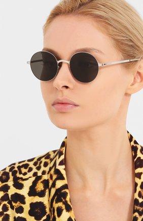 Женские солнцезащитные очки MYKITA черного цвета, арт. BLU/SILVER/CINER0USGREY | Фото 2 (Тип очков: С/з; Оптика Гендер: оптика-унисекс; Очки форма: Круглые)