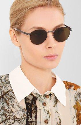 Женские солнцезащитные очки MYKITA коричневого цвета, арт. CARL0/ST0RMGREY/BLUEGREY | Фото 2 (Тип очков: С/з; Оптика Гендер: оптика-унисекс; Очки форма: Круглые)