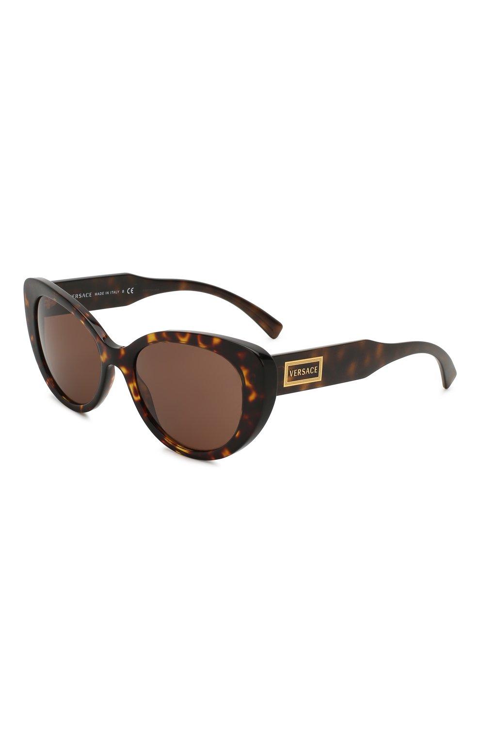 Женские солнцезащитные очки VERSACE коричневого цвета, арт. 4378-108/73   Фото 1