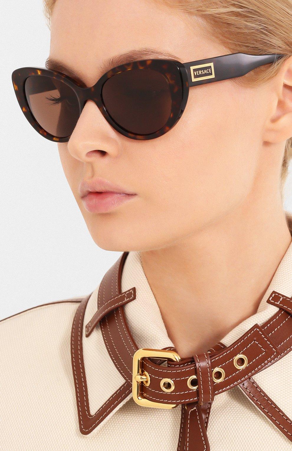 Женские солнцезащитные очки VERSACE коричневого цвета, арт. 4378-108/73   Фото 2
