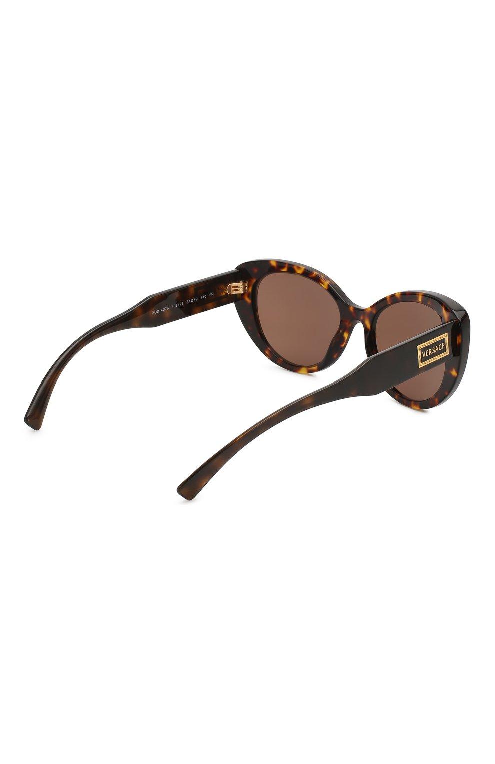 Женские солнцезащитные очки VERSACE коричневого цвета, арт. 4378-108/73   Фото 4