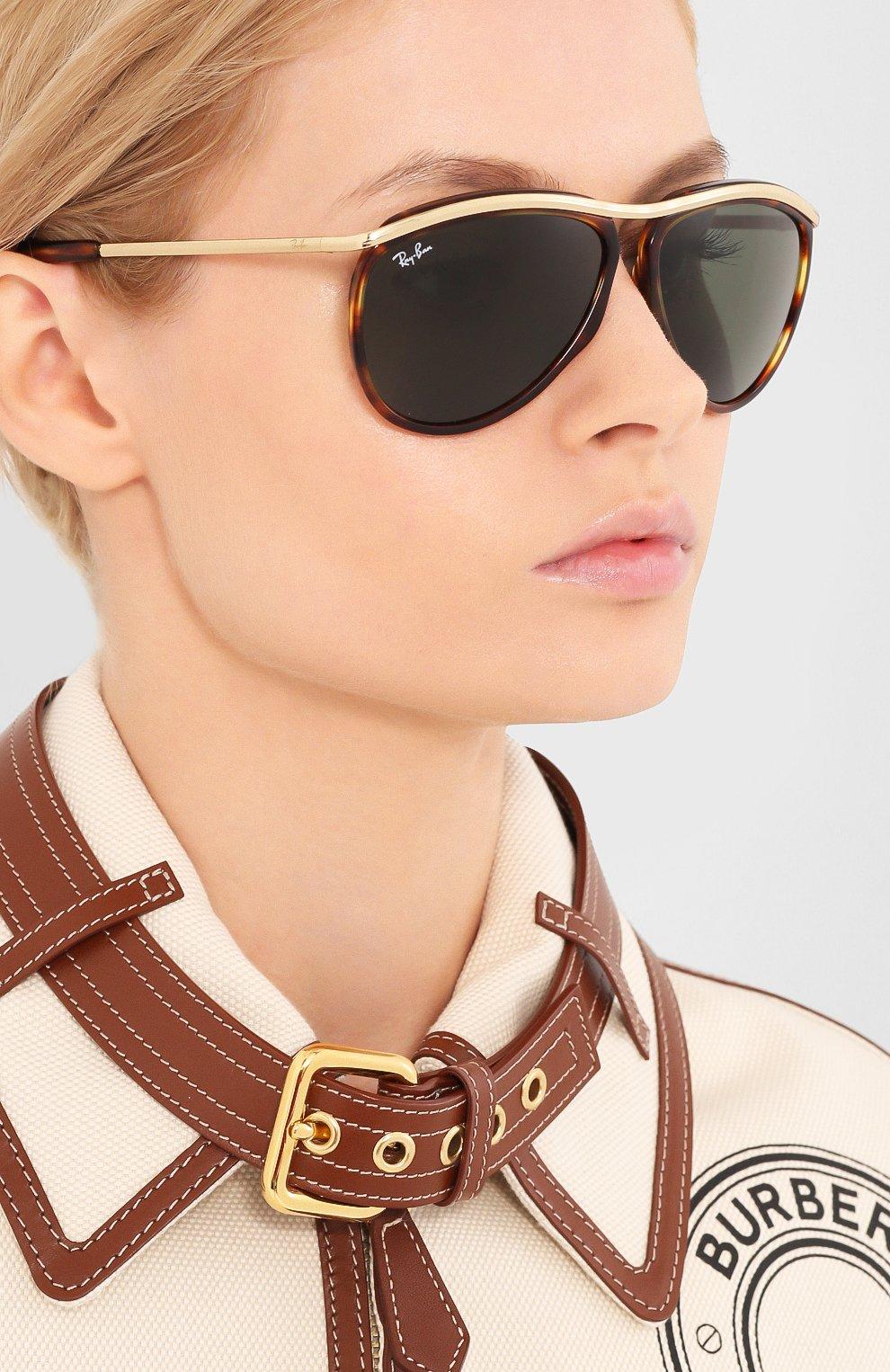 Женские солнцезащитные очки RAY-BAN коричневого цвета, арт. 2219-954/31 | Фото 2