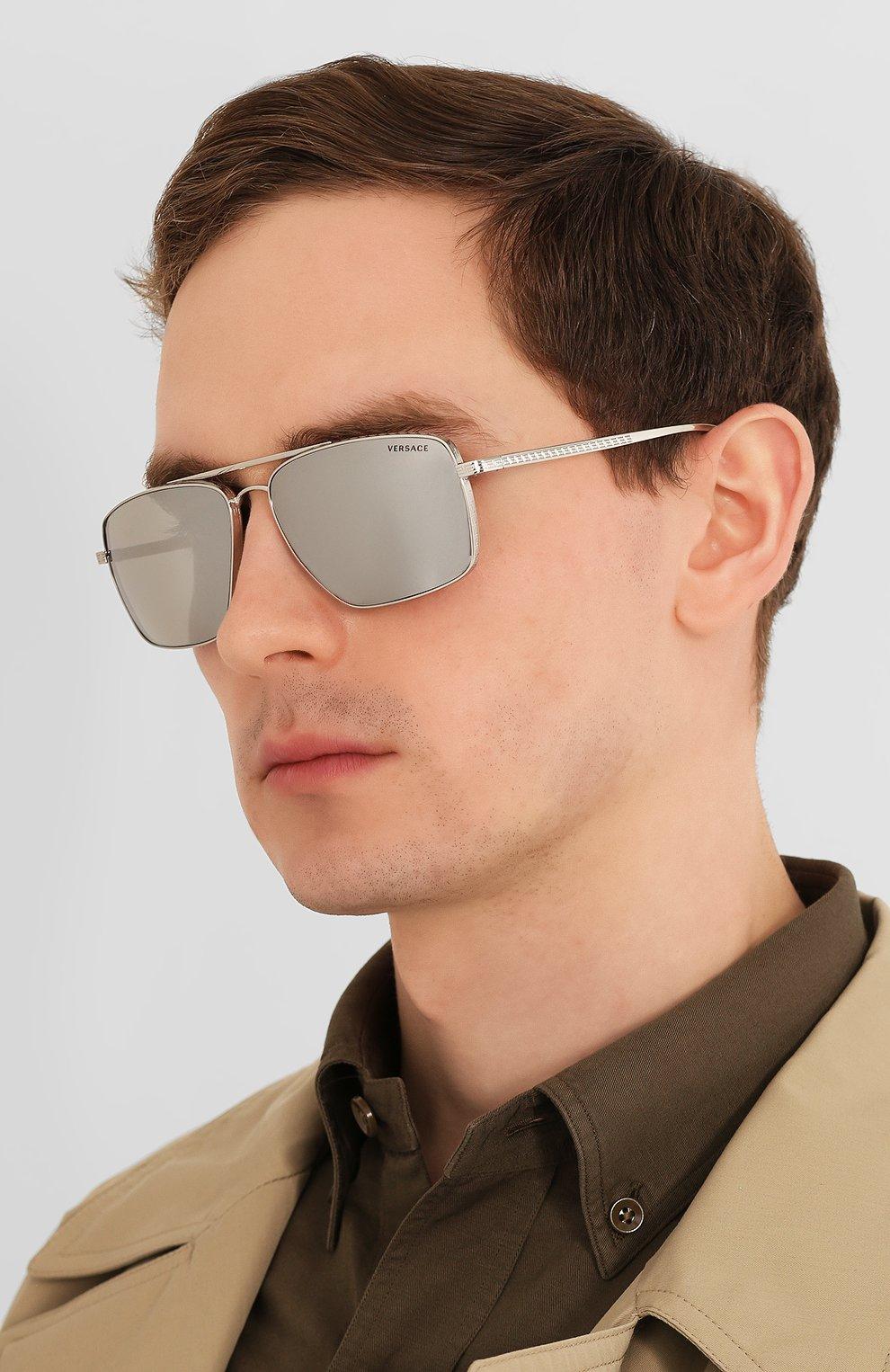 Женские солнцезащитные очки VERSACE серого цвета, арт. 2216-10006G | Фото 3
