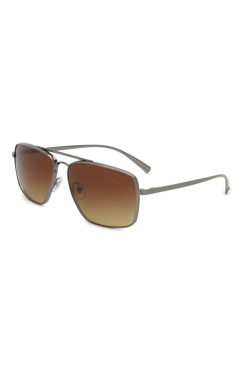 Женские солнцезащитные очки VERSACE коричневого цвета, арт. 2216-100113   Фото 1