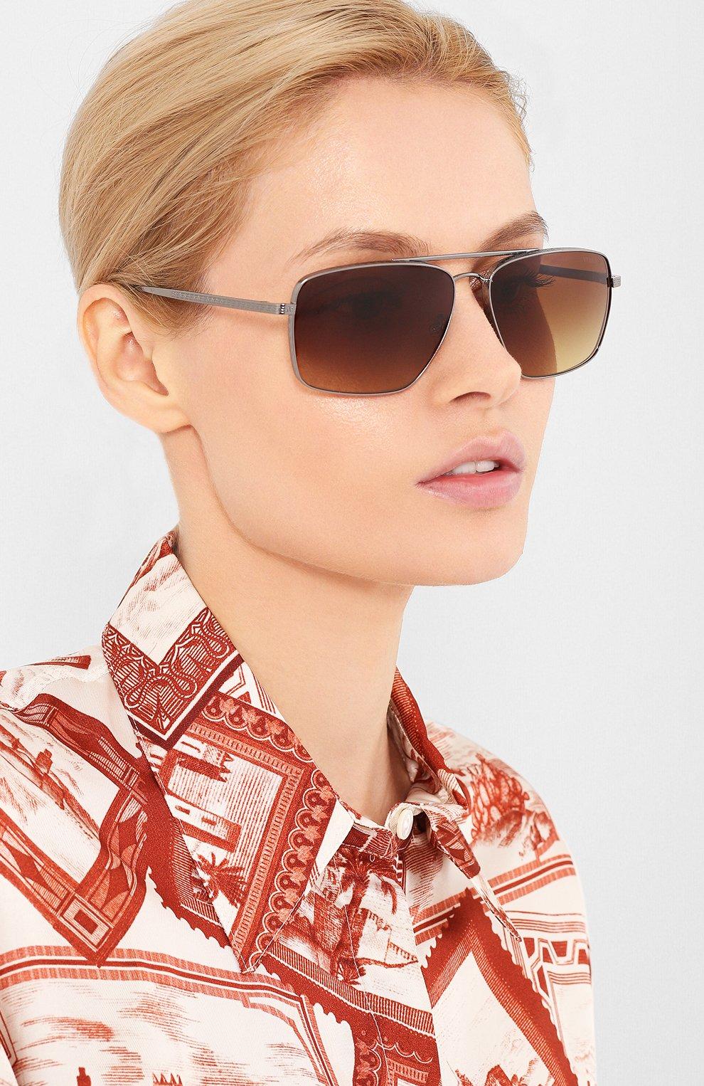 Женские солнцезащитные очки VERSACE коричневого цвета, арт. 2216-100113   Фото 2