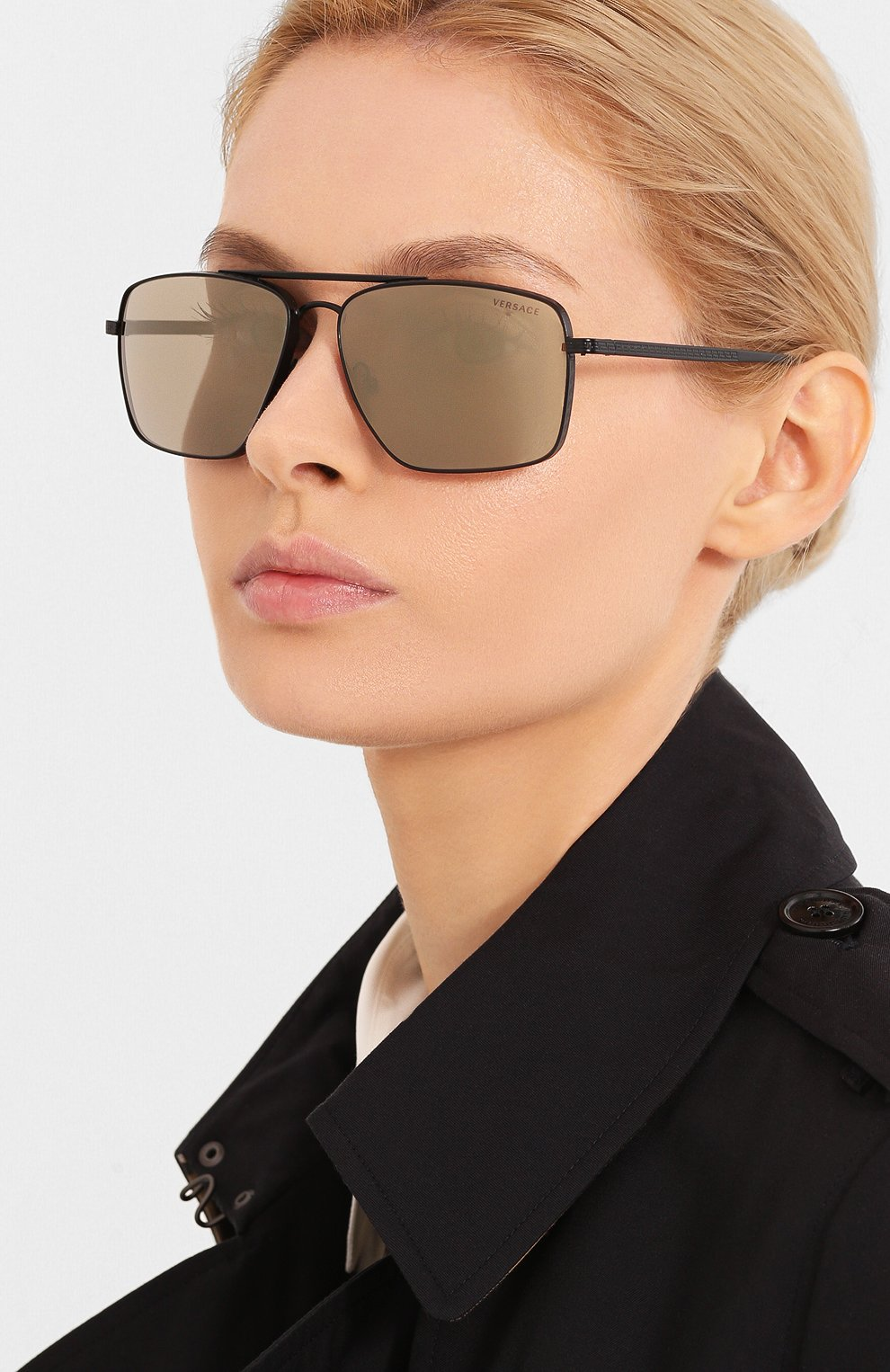 Женские солнцезащитные очки VERSACE серого цвета, арт. 2216-12615A | Фото 2
