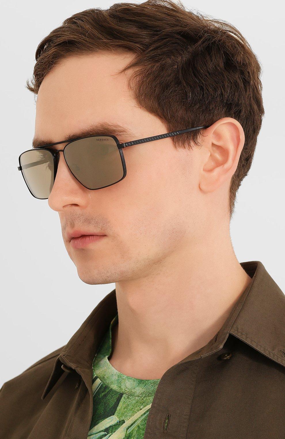 Женские солнцезащитные очки VERSACE серого цвета, арт. 2216-12615A | Фото 3