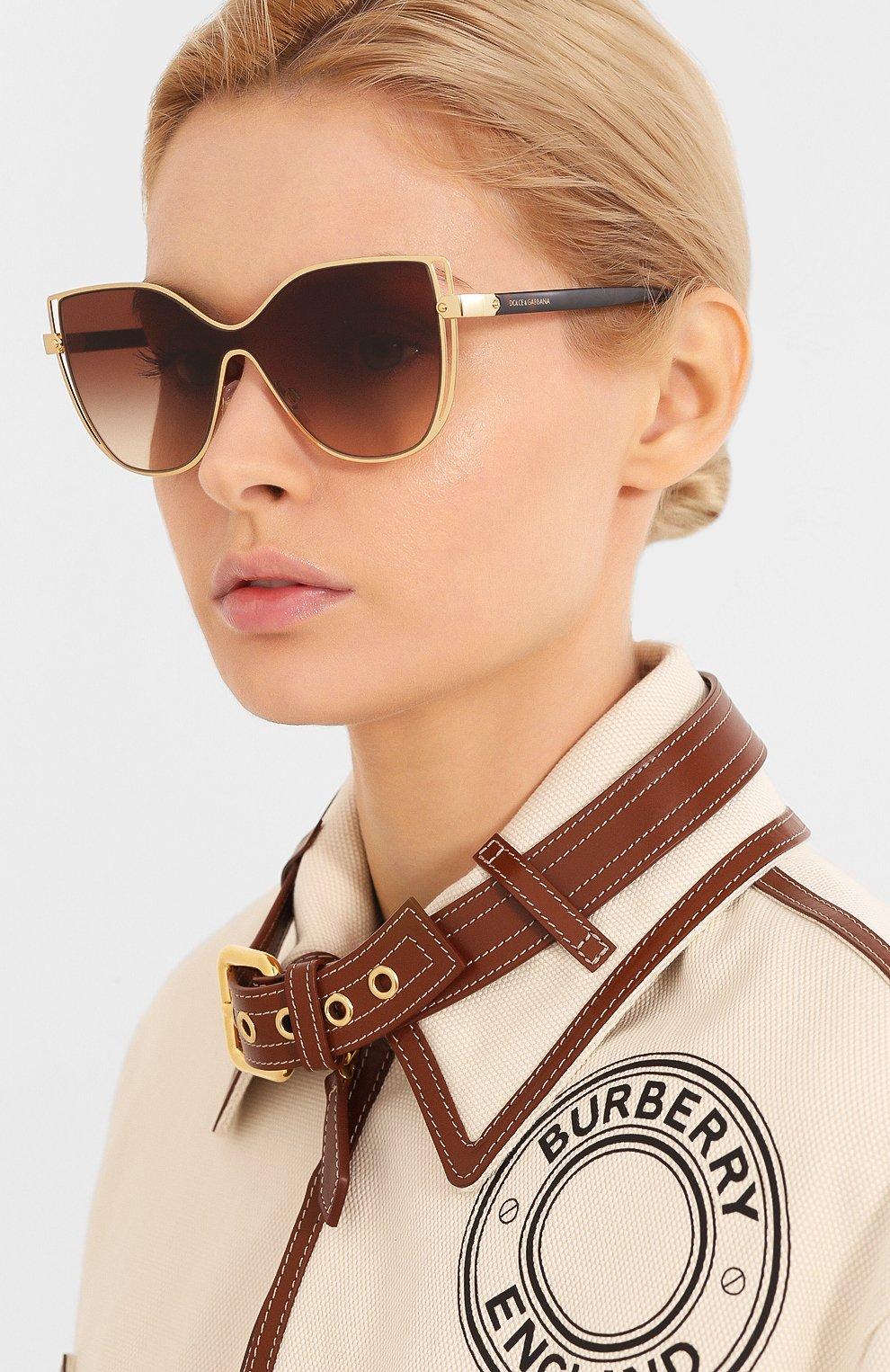 Женские солнцезащитные очки DOLCE & GABBANA коричневого цвета, арт. 2236-02/13 | Фото 2