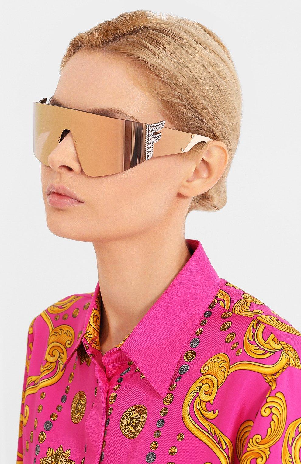 Женские солнцезащитные очки FENDI розового цвета, арт. 0382 35J   Фото 2