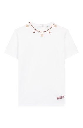 Детская хлопковая футболка DOLCE & GABBANA белого цвета, арт. L5JTFB/G7WCW/8-14 | Фото 1