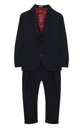 Детский костюм из льна и шерсти BRUNELLO CUCINELLI темно-синего цвета, арт. BH422A102B | Фото 1