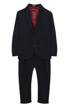 Детский костюм из льна и шерсти BRUNELLO CUCINELLI темно-синего цвета, арт. BH422A102C | Фото 1