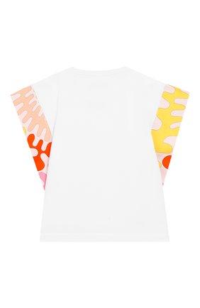 Детская хлопковая футболка EMILIO PUCCI белого цвета, арт. 9M8022/MX170/1-4 | Фото 2