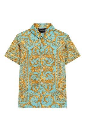 Детский хлопковая рубашка VERSACE бирюзового цвета, арт. YB000129/A232779 | Фото 1