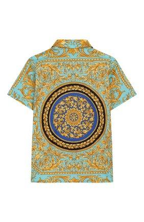 Детский хлопковая рубашка VERSACE бирюзового цвета, арт. YB000129/A232779 | Фото 2