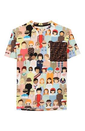 Детская хлопковая футболка FENDI разноцветного цвета, арт. JMI319/AAD3/8A-12+ | Фото 1