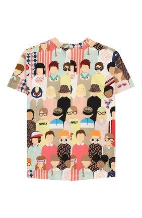 Детская хлопковая футболка FENDI разноцветного цвета, арт. JMI319/AAD3/3A-6A | Фото 2