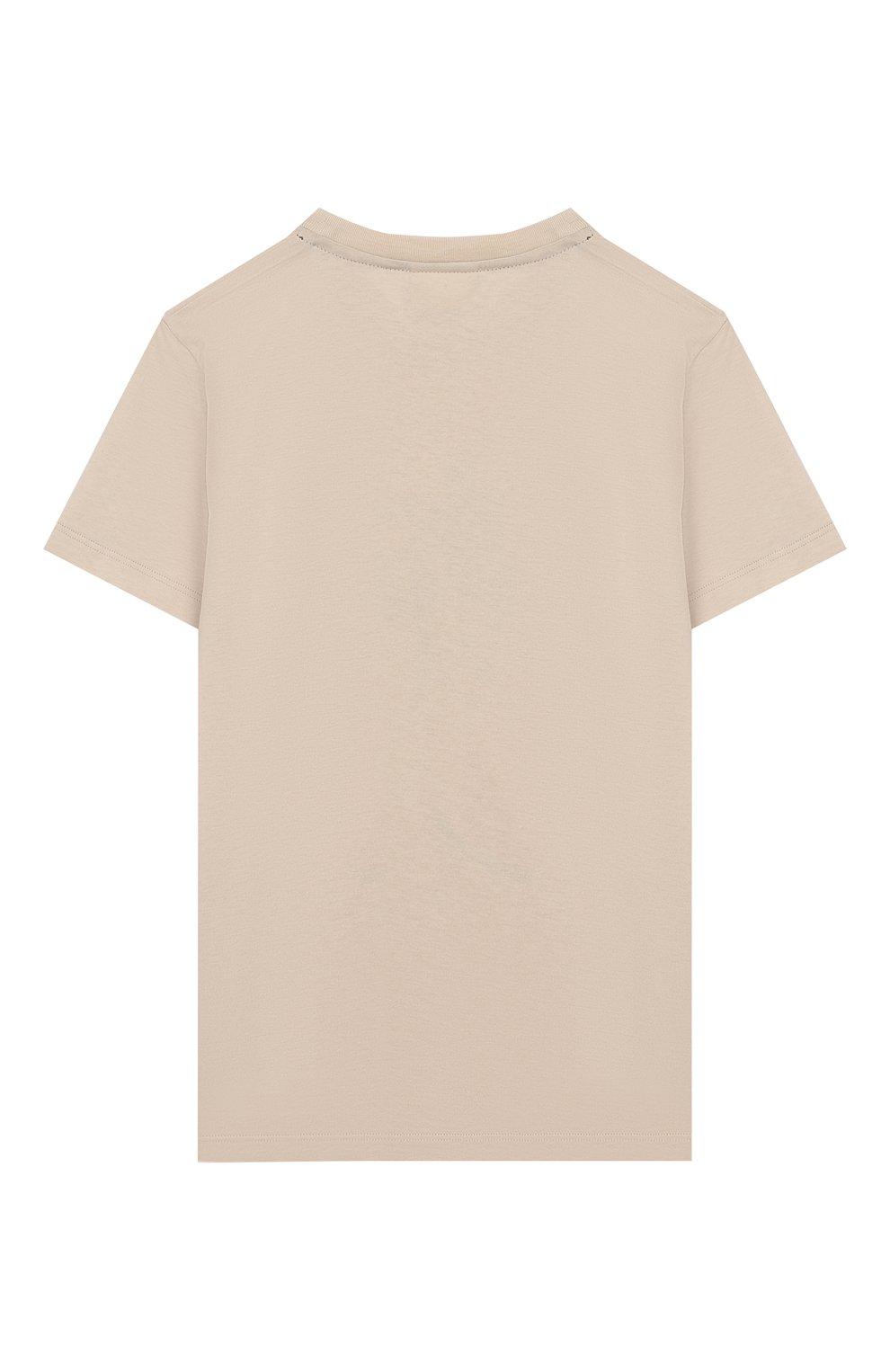 Детская хлопковая футболка FENDI бежевого цвета, арт. JMI314/7AJ/8A-12+ | Фото 2
