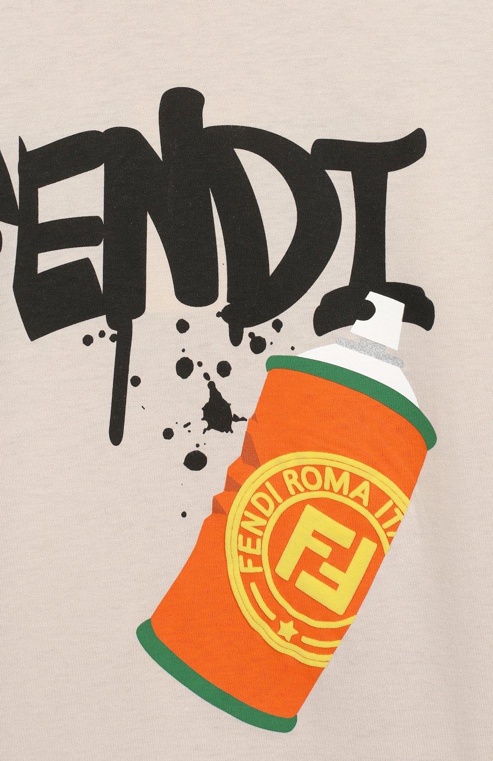 Детская хлопковая футболка FENDI бежевого цвета, арт. JMI314/7AJ/8A-12+ | Фото 3