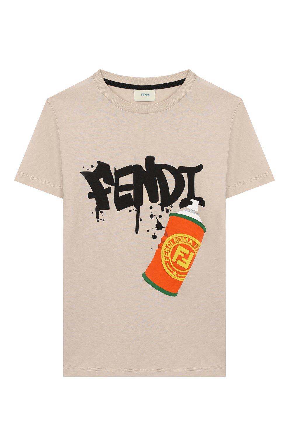 Детская хлопковая футболка FENDI бежевого цвета, арт. JMI314/7AJ/3A-6A | Фото 1