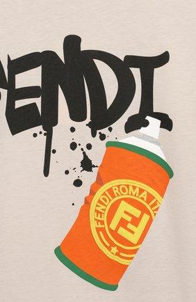 Детская хлопковая футболка FENDI бежевого цвета, арт. JMI314/7AJ/3A-6A | Фото 3