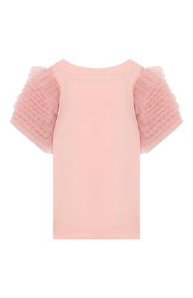 Детская хлопковая футболка FENDI розового цвета, арт. JFI183/7AJ/3A-6A | Фото 2
