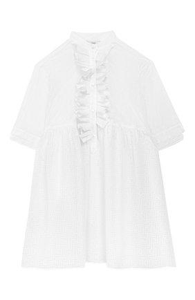 Детское хлопковое платье FENDI белого цвета, арт. JFB327/AACV/3A-6A | Фото 1